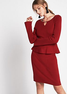 Soft knit dress with a decorative peplum from s.Oliver