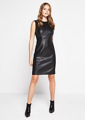 Sleeveless evening dress in faux leather from comma