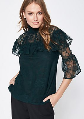 Delicate lace blouse with 3/4-length sleeves from comma