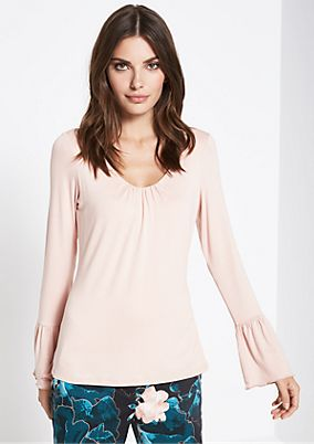 Long sleeve jersey top with a V-neckline from comma