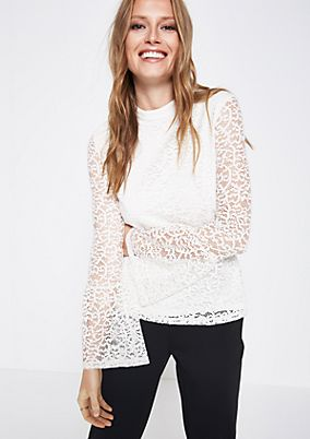 Long sleeve top made of delicate lace from comma