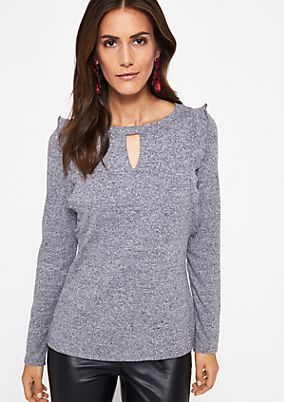 Textured long sleeve top with decorative flounces from comma