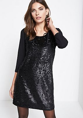 Long crêpe top with sequin embellishment from comma
