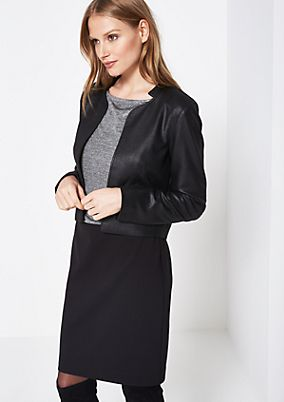 Short blazer in soft faux leather from comma