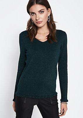 Lightweight knit jumper made of glitter yarn from comma