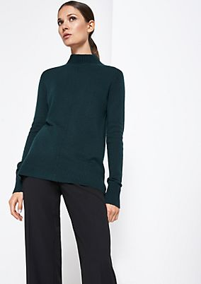 Soft knit jumper with a stand-up collar from comma