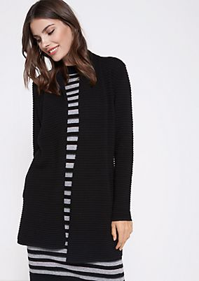 Long cardigan in a ribbed look from comma