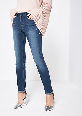 Classic jeans with rhinestone embellishment from comma
