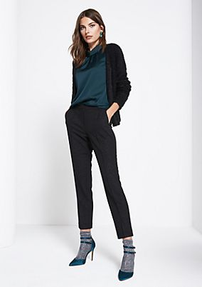 7/8-length business trousers with interwoven glitter yarn from comma