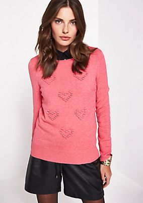 Fine knit jumper with heart decoration from comma