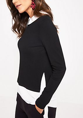 Knitted jumper with an integrated blouse from comma
