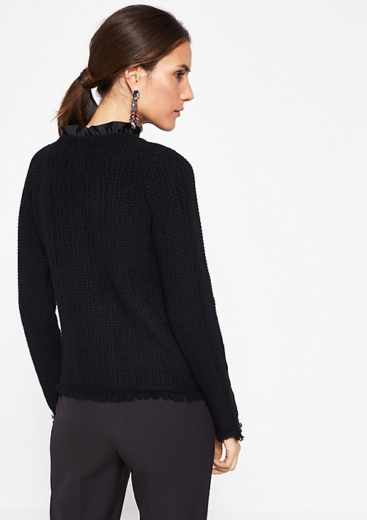 Textured cardigan with decorative fringing from comma