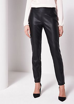 Elegant faux leather trousers with sophisticated details from comma
