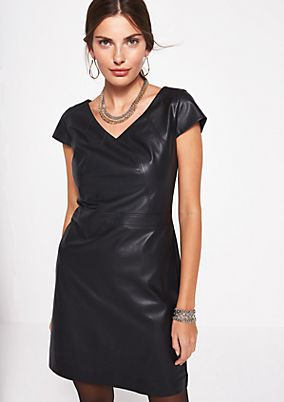 Dress in faux leather with short sleeves from comma