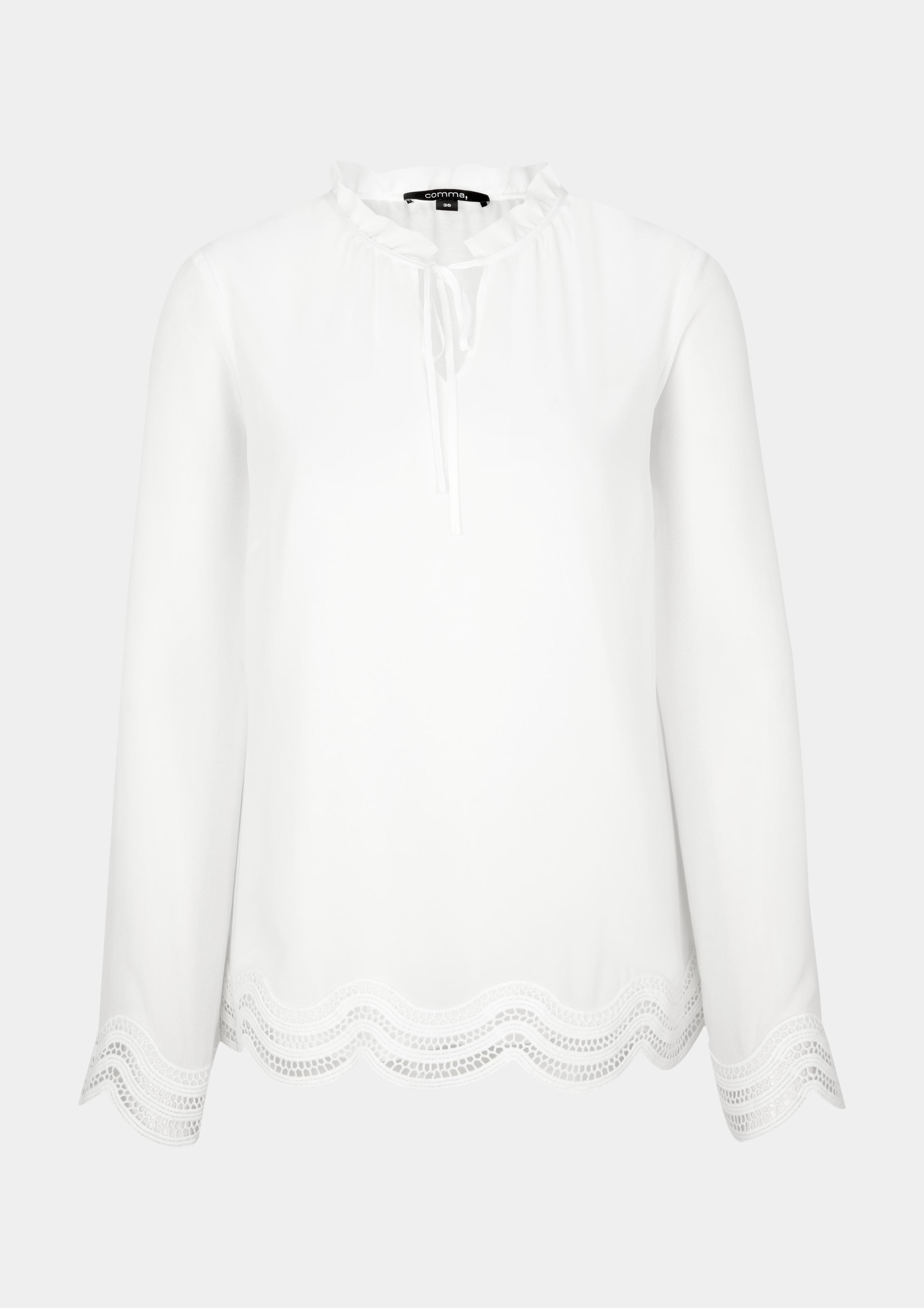 Chiffonbluse | Bekleidung > Blusen > Chiffonblusen | Weiß | Oberstoff: 100% polyester| futter: 100% viskose | comma
