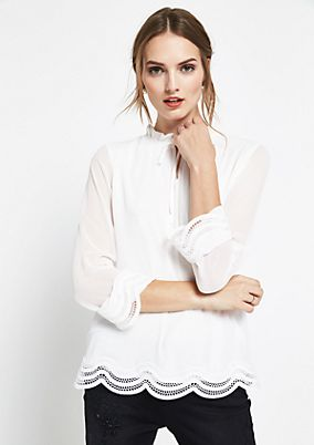 Delicate chiffon blouse with lace embellishment from comma