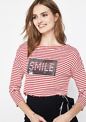3/4-sleeve top with sporty stripes from comma