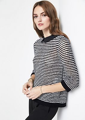 3/4-sleeve knit jumper in a salt & pepper look from comma