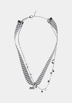 Necklace with a checked cloth chain from comma