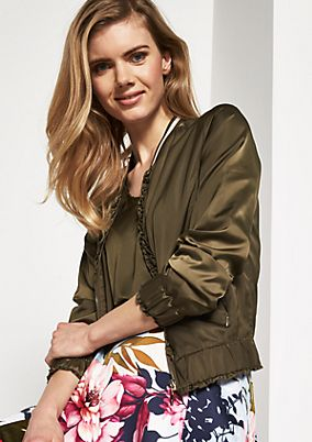 Shiny bomber jacket with ruffled embellishments from comma