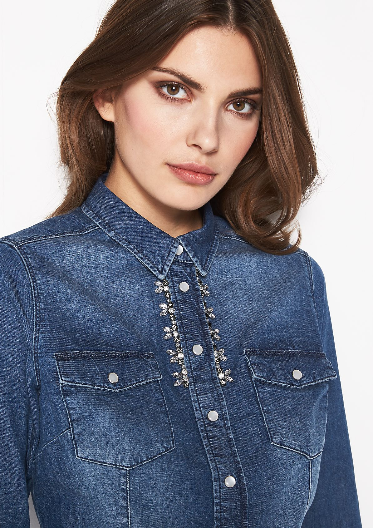 Denim blouse in a vintage look with glittery gemstone decorations from comma