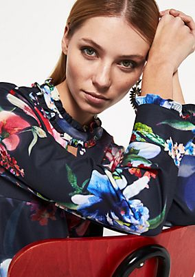 Extravagante Langarmbluse mit Floralprint