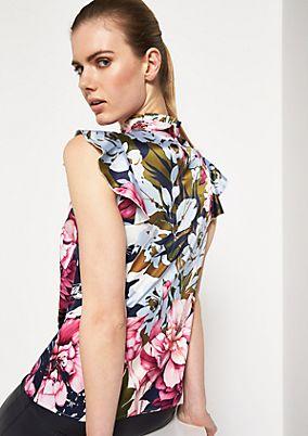 Satintop mit aufregendem Floral-Allovermuster