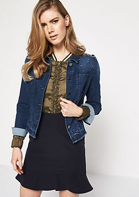 Denim jacket in a vintage wash with gemstones from comma