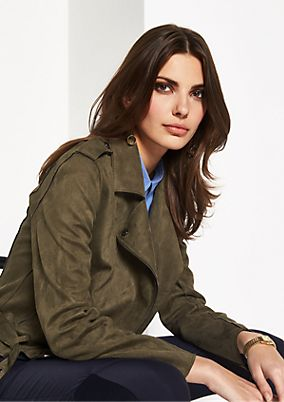 Soft faux suede biker jacket from comma