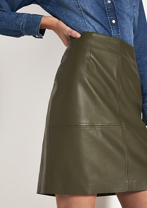 Short skirt made of soft faux leather from comma