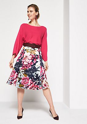 Long satin skirt with a floral pattern from comma