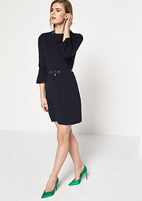 Knitted dress with 3/4-length sleeves and fine details from comma