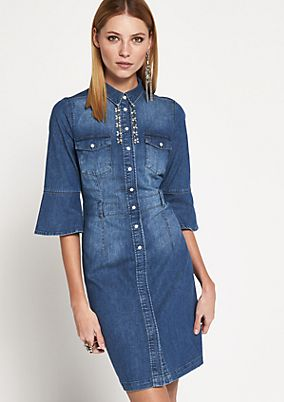 Denim dress in a vintage look with 3/4-length sleeves and gemstone embellishments from comma