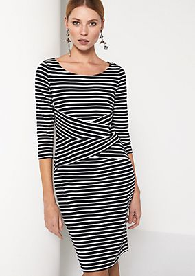 Casual dress in a stripe pattern with 3/4-length sleeves from comma
