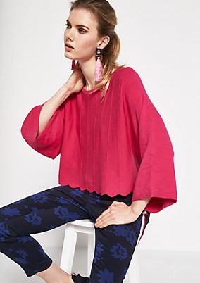 3/4-sleeve fine knit poncho with a ribbed pattern from comma