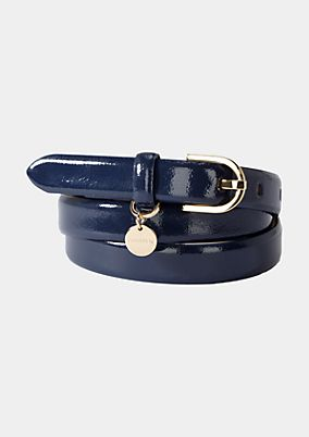 Faux patent leather belt from comma