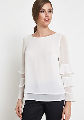 Delicate crêpe blouse with decorative flounces from comma