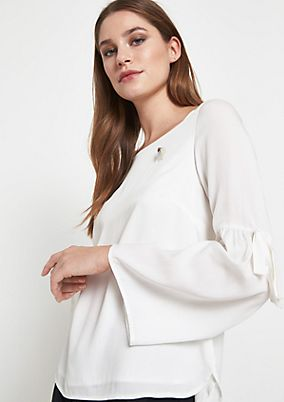 Casual modal blouse with a brooch from comma