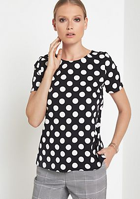 Spring blouse with a decorative polka dot pattern from comma