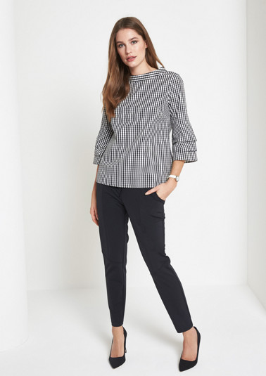 3/4-sleeve blouse with a classic check pattern from comma