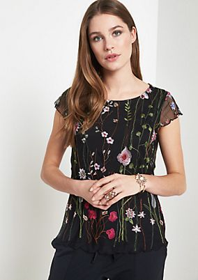 Delicate mesh top with floral embroidery from comma
