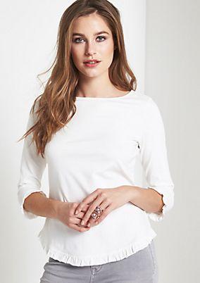 3/4-Arm Jerseyshirt mit Rüschenverzierungen