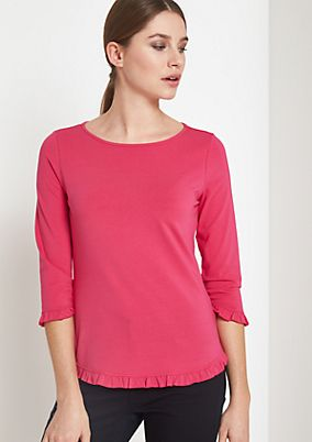3/4-sleeve jersey top with ruffle embellishment from comma