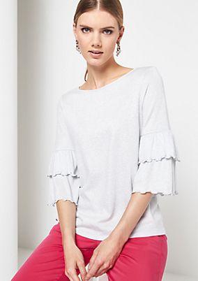 3/4-Arm Shirt aus glamourösem Glitzergarn