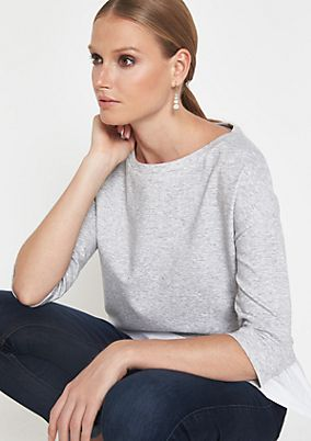 3/4-sleeve sweatshirt in a layered look from comma