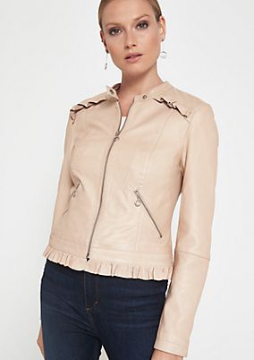 Soft leather jacket with ruffle embellishment from comma