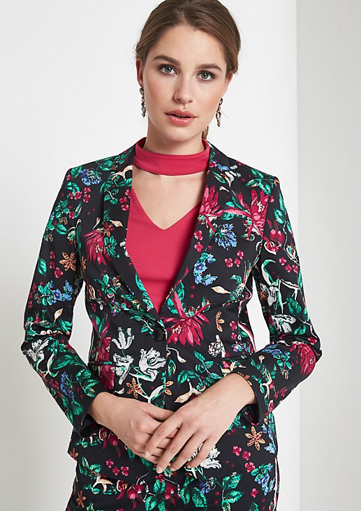Businessblazer mit farbenprächtigen Floralprint