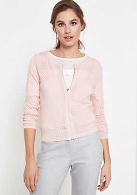 Lightweight cardigan with a decorative openwork pattern from comma