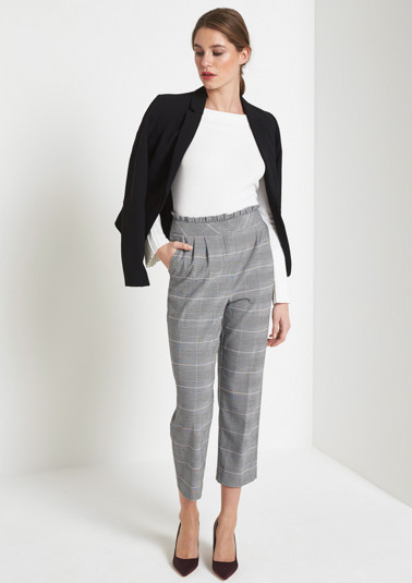 Business trousers with a classic glencheck pattern from comma