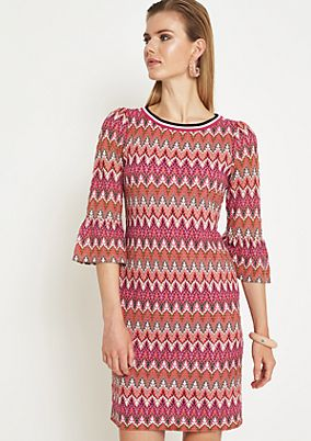 Colourful, casual dress with 3/4-length sleeves from comma